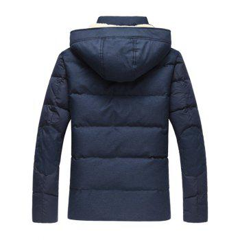 Hooded Plus Size PU Leather Spliced Down Jacket - M M