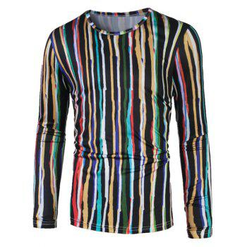3D Colorful Vertical Stripe Print T-Shirt