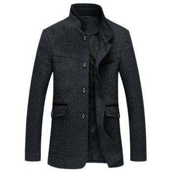 Plus Size Spliced Design Single Breasted Wool Coat