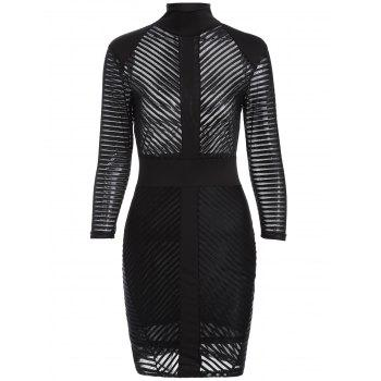 See-Through Bodycon Bandage Mesh Dress