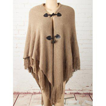 Horn Button Asymmetric Fringed Knit Cape - KHAKI KHAKI