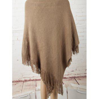 Horn Button Asymmetric Fringed Knit Cape - ONE SIZE ONE SIZE
