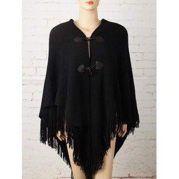 Horn Button Asymmetric Fringed Knit Cape - BLACK BLACK