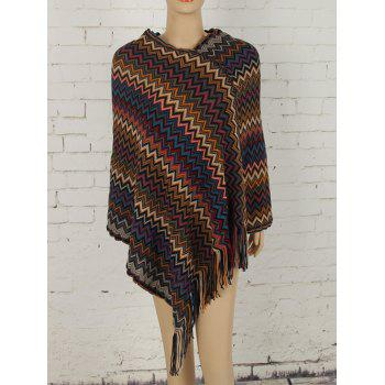 Asymmetric Zig Zag Fringed Knit Cape - COFFEE COFFEE