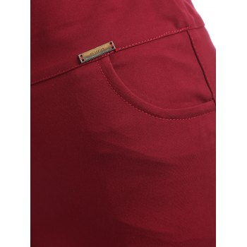 Plus Size Pocket Skinny Leggings - WINE RED L