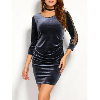 Mesh Spliced Fitted Velvet Dress