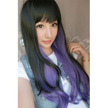 Long Double Color Side Bang Slightly Wavy Cosplay Synthetic Wig