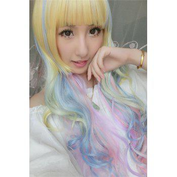 Long Side Bang Rainbow Wavy Cosplay Lolita Synthetic Wig