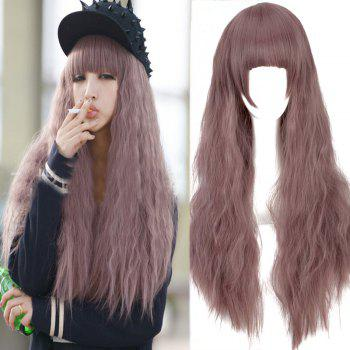 Long Fluffy Water Wavy Neat Bang Cosplay Synthetic Wig
