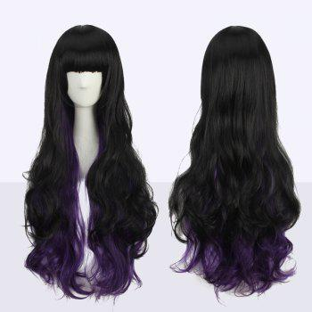 Double Color Stunning Long Neat Bang Wavy Cosplay Synthetic Wig