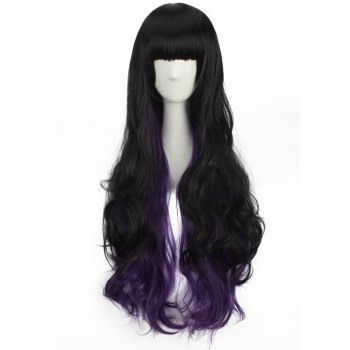 Double Color Stunning Long Neat Bang Wavy Cosplay Synthetic Wig - BLACK/PURPLE