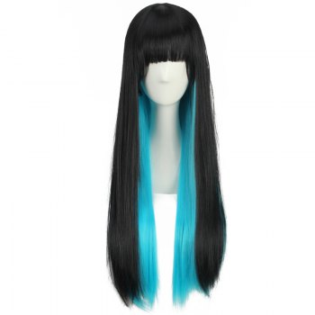Stunning Long Neat Bang Straight Double Color Cosplay Synthetic Wig - BLACK/BLUE