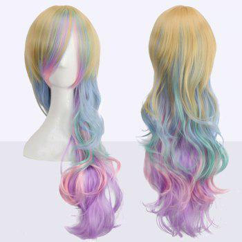 Long Side Bang Rainbow Wavy Cosplay Synthetic Wig