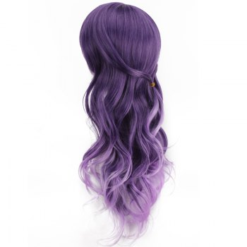 Purple Ombre Side Bang Long Wavy Cosplay Synthetic Wig - COLORMIX