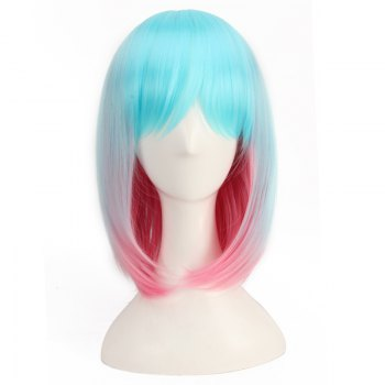Colored Medium Side Bang Straight Cosplay Synthetic Wig - COLORMIX