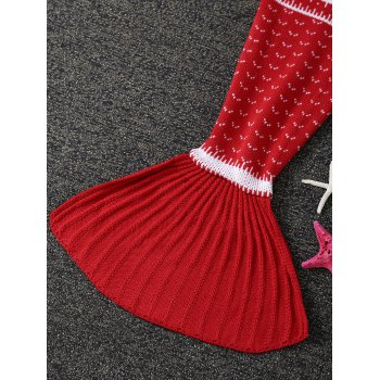 Trees Pattern Knitted Mermaid Tail Blanket For Kids -  RED