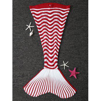 Knitted Color Splicing Striped Mermaid Tail Blanket For Kids - RED WITH WHITE RED/WHITE