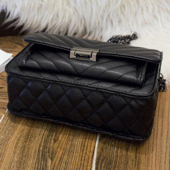 PU Leather Chains Quilted Crossbody bag - BLACK