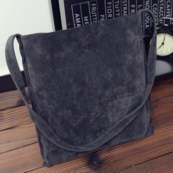 Faux Suede Shoulder Bag With Pouch Bag - GRAY