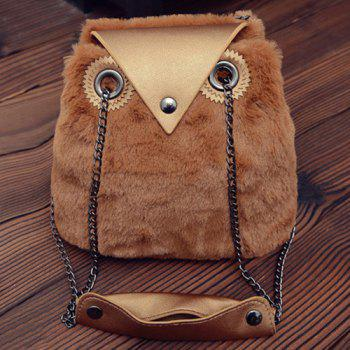 Faux Fur Chains Shoulder Bag - LIGHT BROWN