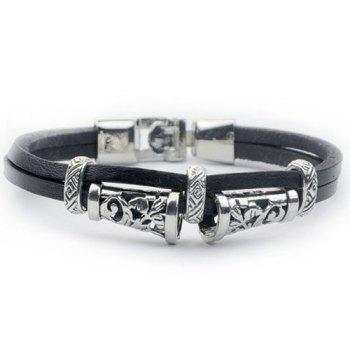 Alloy Engraved Artificial Leather Bracelet
