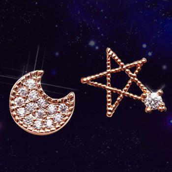 Rhinestone Asymmetric Star Moon Stud Earrings
