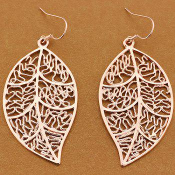 Vintage Engraved Leaf Drop Earrings