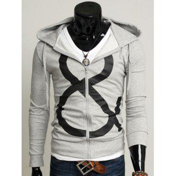 Zip Up Drawstring Graphic Hoodie - LIGHT GRAY M