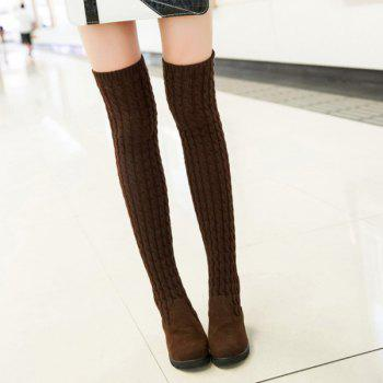 Dark Colour Splicing Wedge Thigh Boots