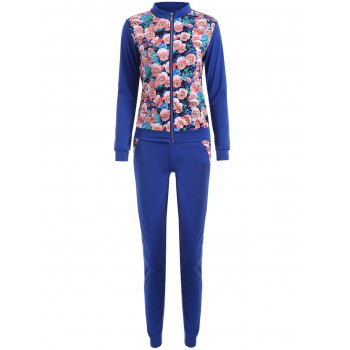 Long Sleeve Floral Printed Sweatsuit