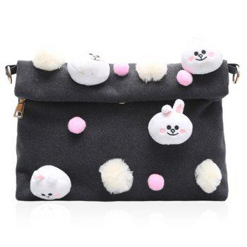 Pompon Magnetic Closure Animal Dolls Crossbody Bag