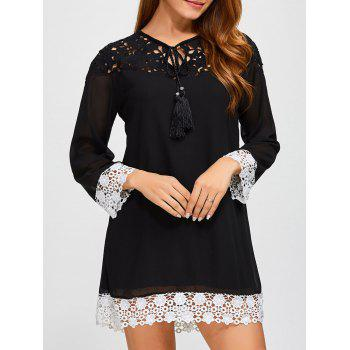 Crochet Lace Spliced Mini Shift Dress