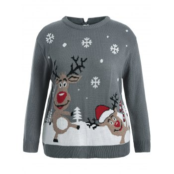 Back Bowknot Snowflake Cartoon Pattern Christmas Sweater