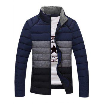Zip Up Contrast Insert Stand Collar Padded Jacket