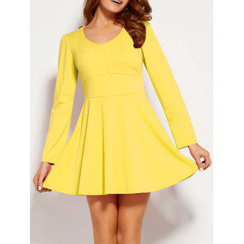 Long Sleeve Fit and Flare Mini Dress
