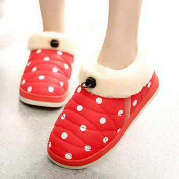 Fuzzy Polka Dot House Slippers