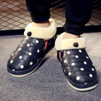 Polka Dot Fuzzy House Slippers
