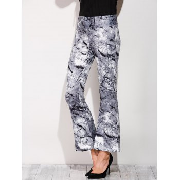 Boot Cut Pants With Chinese Painting Print