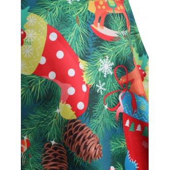 Plus Size Christmas Tree Print Dress - GREEN 4XL