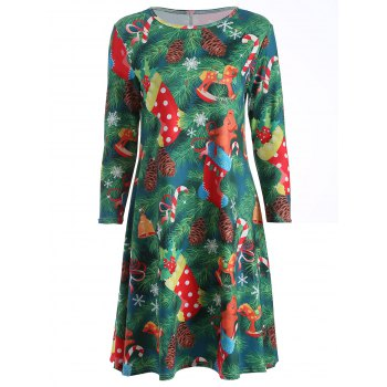 Plus Size Christmas Tree Print Party Dress - GREEN L