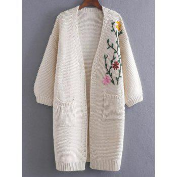 Floral Embroidered Pockets Vintage Cardigan