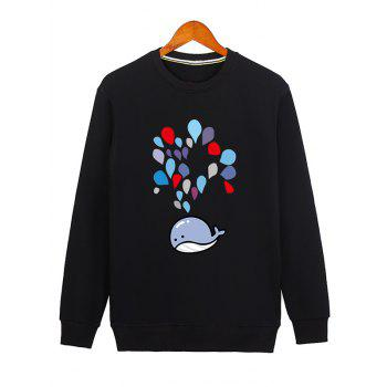 Crew Neck Water Drop Printed Sweatshirt - BLACK 2XL