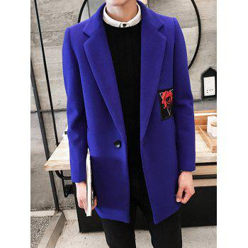 Single Breasted Lapel Collar Rose Patch Coat