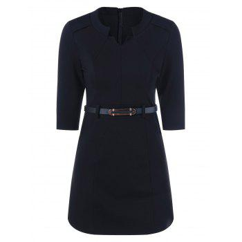 Slim Fit Dress With Belt - BLACK BLACK