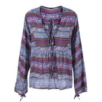 Lace Up Ethnic Print Peasant Blouse