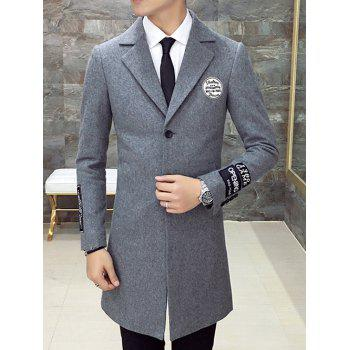 Lapel Single Breasted Applique Back Slit Coat - GRAY GRAY