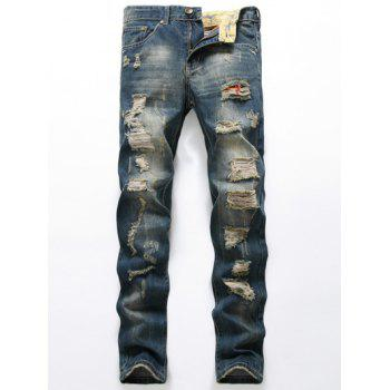 Zipper Fly Pocket Rivets Ripped Jeans