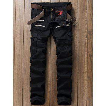 Straight Leg Zippered Multi Pocket Cargo Pants