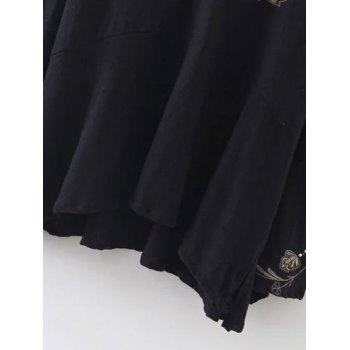 Double V Neck Embroidered Blouse - BLACK M