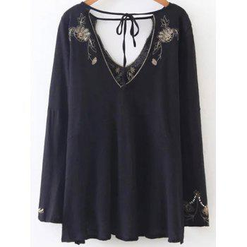 Double V Neck Embroidered Blouse - BLACK S